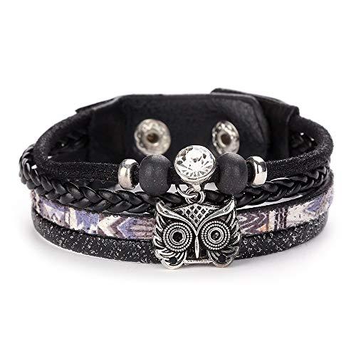 TDFGCR Mode Frauen mehrschichtiges handgemachtes Armband Leder Armband Armreif-Mehrfarben C (Künstler Armreif)