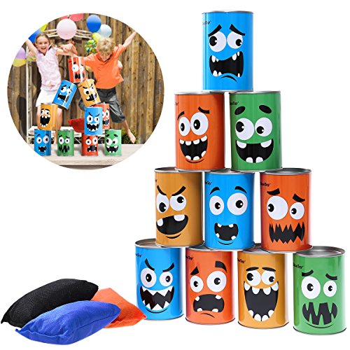 iBaseToy Tin Can Alley Garden Games - 10 Tin Cans and 3 Beanbags Included - The Classic Carnival Game - Great For BBQs, Kid's Birthday Parties