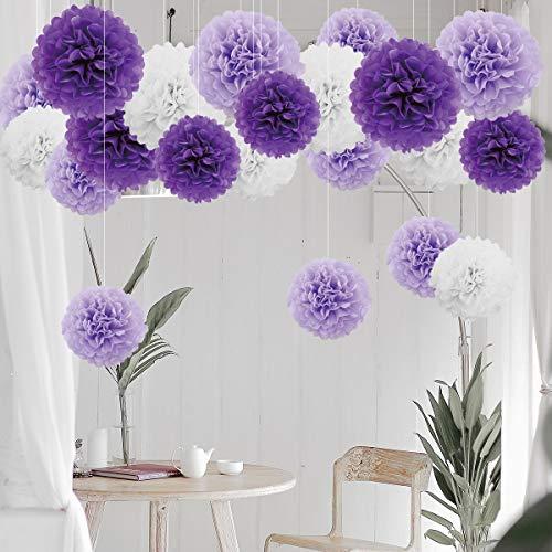 21er Set Seidenpapier Papier Pompoms Blumen Dekoration Deko für Geburtstage Partys Hochzeiten Baby-Duschen Feste –Weiß Hellviolett Lila / 25cm, 35cm