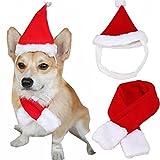 KINGDUO Weihnachten Haustier Hund Katze Santa Hut Kragen Set Kopfbedeckung Kätzchen Mützen mit Schal Christmas Decor-M