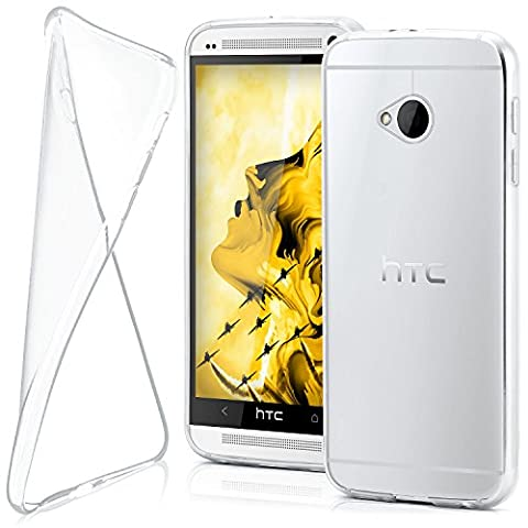 HTC One M7 Hülle Silikon Transparent Klar [OneFlow Clear Back-Cover] TPU Schutzhülle Dünn Handyhülle für HTC One M7 Case Ultra-Slim Silikonhülle