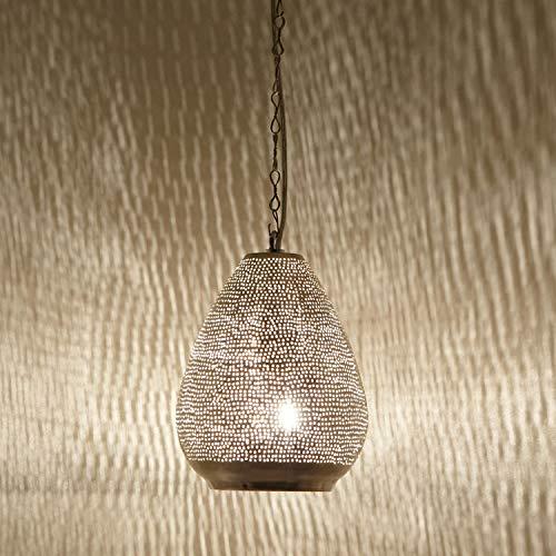 Orientalische Lampe marokkanische Hängelampe Maskat D18 Silber aus Messing mit E14 Fassung | Kunsthandwerk aus Marokko | Prachtvolle Pendelleuchte für tolle Lichteffekte wie aus 1001 Nacht | EL2210
