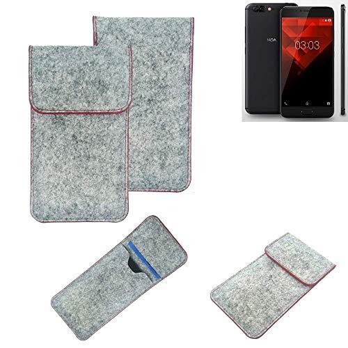 K-S-Trade® Filz Schutz Hülle Für NOA H10le Schutzhülle Filztasche Pouch Tasche Case Sleeve Handyhülle Filzhülle Hellgrau Roter Rand