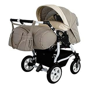 Adbor Duo Spezial Zwillingskinderwagen mit Babyschale, Zwillingswagen, Zwillingsbuggy D-1 beige