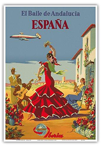 Preisvergleich Produktbild Spanien - Der Tanz von Andalusien - Iberia Fluggesellschaft - Flamenco-Tänzer - Vintage Retro Fluggesellschaft Reise Plakat Poster von Unknown c.1950s - Kunstdruck - 33cm x 48cm