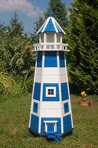Deko-Shop-Hannusch Wunderschöner großer XXL Leuchtturm aus Holz mit LED Beleuchtung 1,40 m, blau/Weiss - Große Shop