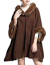 KAXIDY Abrigos Mujer Chaqueta Abrigo Moda Piel de Imitación Ponchos Abrigos  para Primavera Otoño ... de3ca1fa0901
