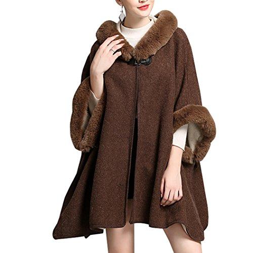 Kaxidy donne scialli elegante scialle capispalla mantelli cappotti poncho e mantelle (marrone)