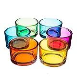 INNA Glas Set 2 x 6X Teelichtglas/Teelichthalter TAMIO, Bunt, 3,5cm, Ø5cm - Deko Kerzenhalter/Windlichtglas