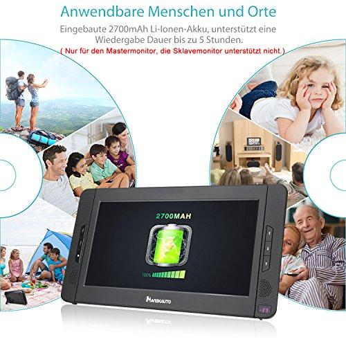 NAVISKAUTO 10,1 Zoll DVD Player Auto 2 Monitore Tragbarer DVD Player mit zusätzlichem Bildschirm 5 Stunden Akku Kopfstütze Monitor Fernseher Dual Bildschirm1014 - 2