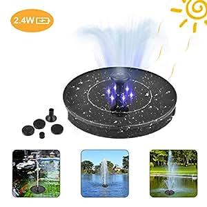 arbitra Springbrunnen Solar Garten 2.4W Mini LED wasserdichte Solar Teich Panel Brunnenpumpen Outdoor mit Power Speicherfunktion f/ür Teich Garten Vogelbad Gartenteich A