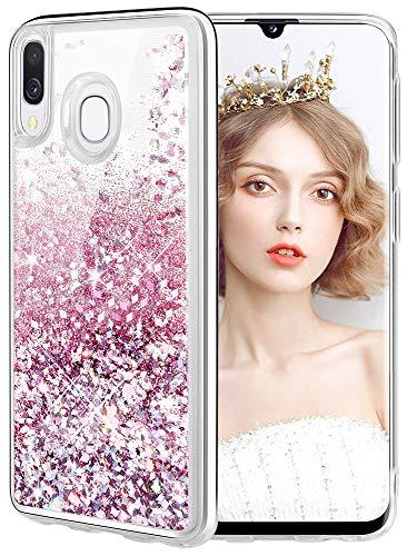wlooo Glitzer Hülle kompatibel mit Samsung Galaxy A40, Handyhülle Galaxy A40 Glitzer, Galaxy A40 Flüssig Treibsand Glitter Gradient Quicksand Weich TPU Bumper Silikon Schutzhülle Case (Rose Gold)