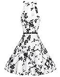 Zarlena Damen Rockabilly Kleid Petticoat Cocktailkleid Neckholder Blumen Floralmuster Weiß/schwarzes Floralmuster 3XL DROD-BLK-XL