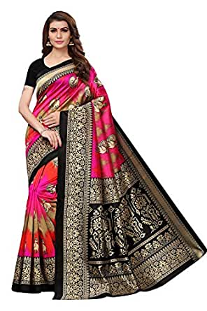Ishin Poly Silk Pink Printed Women's Saree/Sari With Blouse Piece