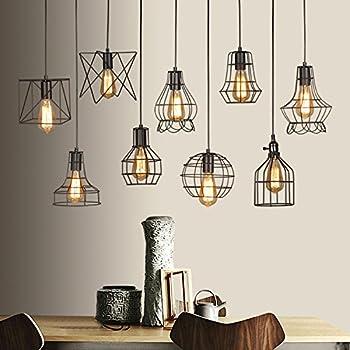 Lampade vintage, industriali, nere, in metallo, paralume con telaio in filo di ferro, molto ...
