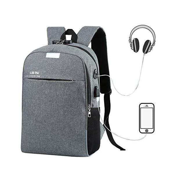 Eshow Mochila para Ordenador Portátil 15.6 Pulgadas con Puerto de Carga USB Negocio Trabajo para Hombres y Mujeres