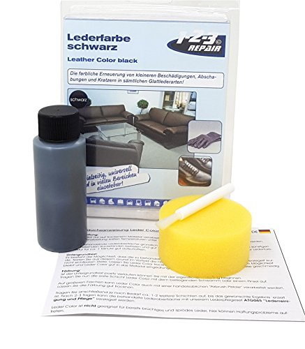 123Repair Do it yourself Lederfarbe Schwamm und Pinsel I Farbe für Lederreparatur Sofa,...