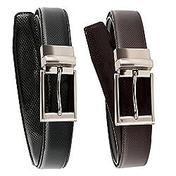 Shara Mens REVERSIBLE leather belt (black & brown)(SHA/MENSBELT/RBB)(One belt)