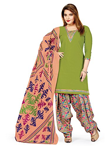 Low Price Cotton Apple Green and Peach Patiala Suit dress for women daily wear in free size (Pshopee presents New Collection latest gowns for women party wear salwar suit for women Patiyala suits for women chudidar material cotton Latest Wear dresses for women party wear gowns for girls party wear latest saree collection 2017 unstitched dress materials with cotton printed duppatta lace border top kameez for women Churidar Salwar Kameez Anarkali suit navratri special long gowns for girls)  available at amazon for Rs.649