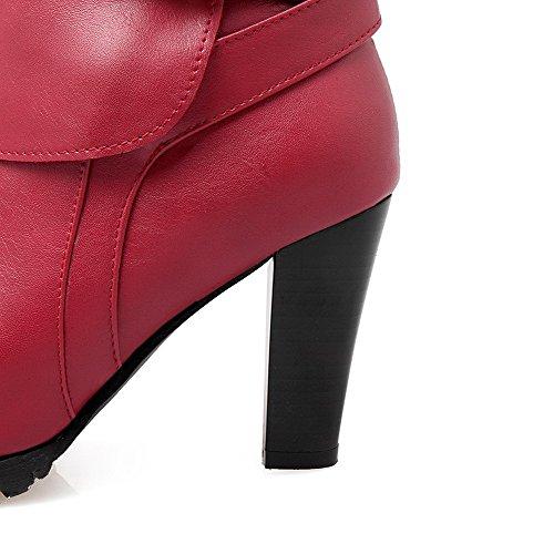 VogueZone009 Femme Boucle à Talon Haut Matière Mélangee Couleur Unie Haut Bas Bottes Rouge