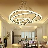 FengChandelier-Modern Minimalist Restaurant Art Led Ring Kronleuchter für Büro / Wohnzimmer Kreative Persönlichkeit Acryl Pandent Lampe, warm 4 Kopf100 + 74 + 52 + 34cm / 120W