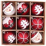 Valery Madelyn 9Pcs Bolas de Navidad de 6cm, Adornos de Navidad para Arbol, Decoración de Bolas Navideños Inastillable Plástico de Rojo y Blanco, Regalos de Colgantes de Navidad (Tradicional)