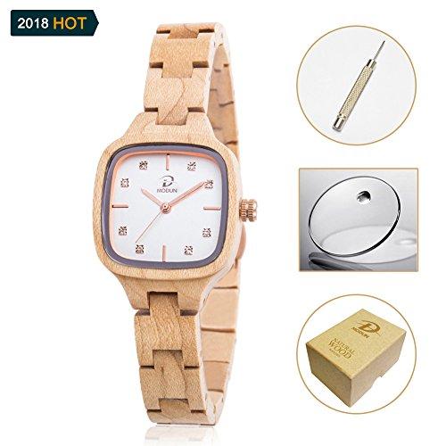 Maple legno naturale orologio per donna, Diamanti Oro rettangolo Beige fronte della vigilanza con regolabile bracciale in legno (Maple)