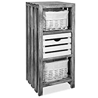 LIVIVO Wooden Slatted Bedside Table Cabinet with Crate Style Drawer and Cloth Lined Basket
