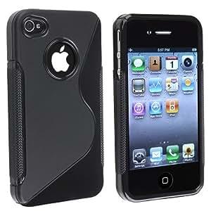 Coque Housse Etui silicone S line Pour Iphone 4 iphone 4s couleur noir noire: Amazon.fr: High-tech