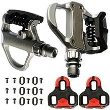 Pedales Automaticos de Aluminio SPD VP R73 para Bicicleta Color Blanco Compatible con Look KEO MTB Road + Juego de Calas incluido 3649