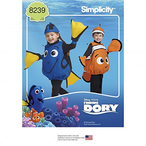 Dory Kostüm Disney - Simplicity Kinder Schnittmuster 8239Disney Finding Dory Kostüme