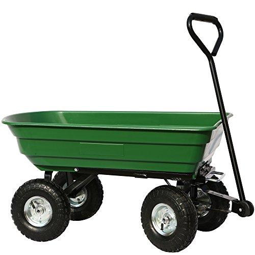 Jalano Transportkarre Kippwagen 70 Liter Grün Garten Wagen Bollerwagen Doppelachse belastbar maximal 150 kg