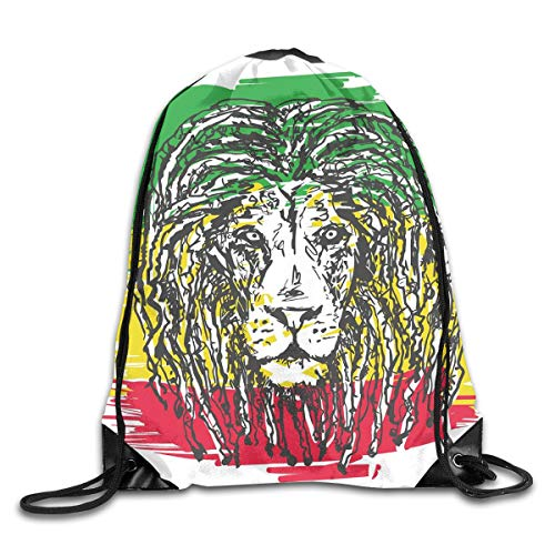 EELKKO Drawstring Backpack Gym Bags Storage Backpack, Ethiopian African Culture Hair Style Lion Head Portrait Grunge Backdrop,Deluxe Bundle Backpack Outdoor Sports Portable Daypack Deluxe Lion Head