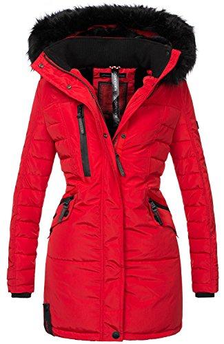 Navahoo Damen Winter Jacke Mantel Parka warm gefütterte Winterjacke B379 [B379-Eliya-Rot-Gr.XL]