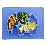 Baby Teller,Silikon Rutschfester Baby Tischset für Baby Kleinkind und Kinder,kinderteller passend für die meisten Hochstuhl-Tabletts-26 x 20 x 3 cm (Blau)