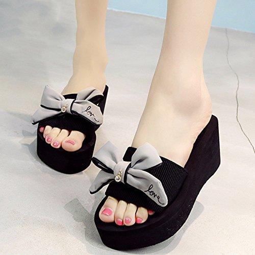 Estate Sandali Scarpe da spiaggia sandali di moda con tacco alto (nero / blu / grigio / rosa) Colore / formato facoltativo Grigio