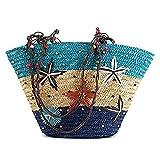 LAAT Bohemian a mano Tessuto mano borsa a tracolla Borsa a righe stella mare Borsa spiaggia per estate Borsa tessuto tessuto Borsa erba