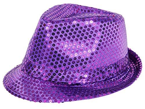 Clubstyle Partyhut Trilby Hut Blink Fedora Bogart Glitzerhut Glitter, Farbe wählen:TH-60 (Lila Kostüm Hut)