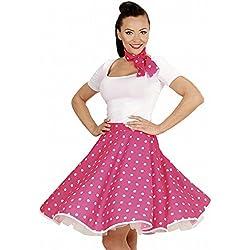 Lunares falda de 1950 y bufanda Set Adultas - Disfraz - Rosa - Tamaño 38-40