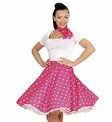 Widmann 01078 - Erwachsenenkostüm 50s Rock'n'Roll Girl, Polka Dot Rock und Halstuch, rosa, Einheitsgröße