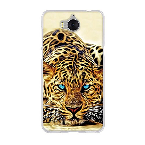 Fubaoda Hülle für Huawei Y5 2017/Huawei Y6 2017, Exotische Zeichnung Eines blauen Augen-Leoparden,Langlebige Schutzhülle- Staub und Scratch- Stoßfest TPU Handyhülle für Huawei Y5 2017/Huawei Y6 2017 - Exotische Augen