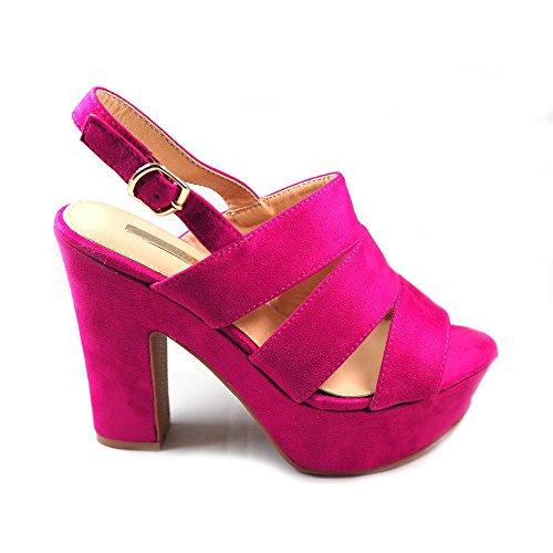 Sandalia con Gran Tacon Ancho Para Mujer Buonarotti 1A-18063 Color Rosa  Fucsia Muy Elegante acf90cfe730e