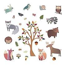 aa2643457e decalmile Woodland Animal Wall Decals Deer Fox Tree Wall Stickers Nursery  Wall Art Decor Kids Bedroom