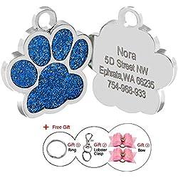 Médaillon d'identification Berry en forme de patte personnalisable pour chiens et chats - 24mm - Acier inoxydable