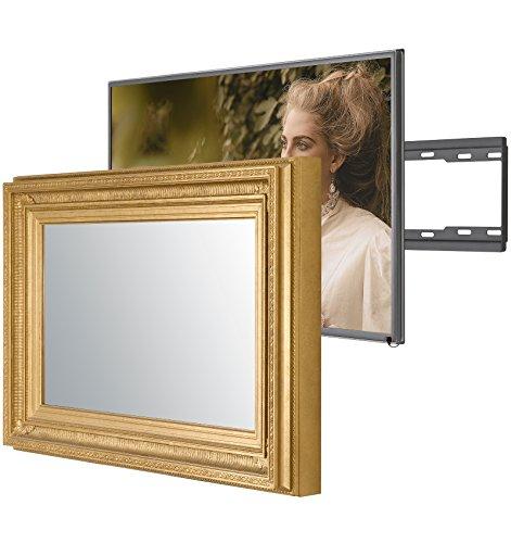 Regency Antike Möbel (Handgemacht Eingerahmter Spiegel TV mit Samsung UE55NU7100 um diesen versteckt Verspiegelten Fernseher in Ihrem Zuhause oder Ihrer Business Ausstattung zu integrieren (55 Zoll, Regency Gold))