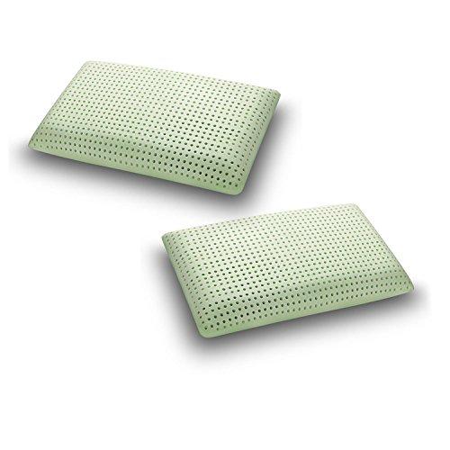 Sleepys coppia cuscini in memory foam aloe vera, 74x42 alto 13 cm saponetta forato con fodera in jersey 100% cotone - guanciale aloe vera idratante antiage