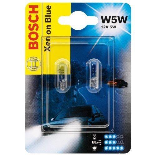 BOSCH W5W 5W XENON BLUE 1987301033 Doppelblister Glühlampen Autolampen 12V 2 Stück Standlicht Positionslicht Kennzeichenlicht Innenbeleuchtung Weiß-blaues und xenonähnliches Licht für Halogen-Scheinwerfer überzeugt mit elegantem Effekt -