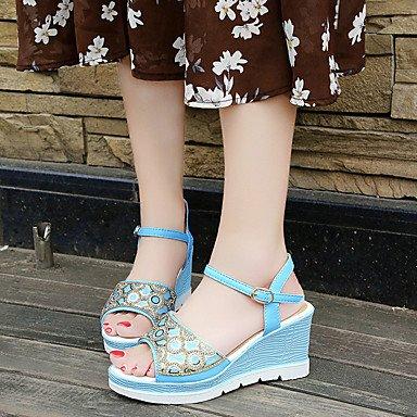 LQXZM La femme Printemps Été Sandales Chaussures Club Match tous doux confort fashion robe Peep Toe Talon occasionnels Rh Blue