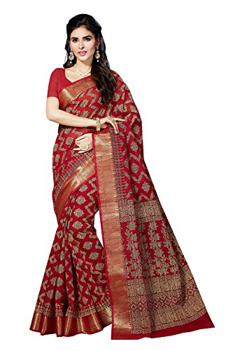 Rani Saahiba Cotton Saree With Blouse Piece (SKR3075_Red_One Size)