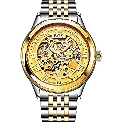 Angela Bos Men's Automatic Self-wind Mechanical Gold Skeleton Dial Wrist Watch Stainless Steel Band